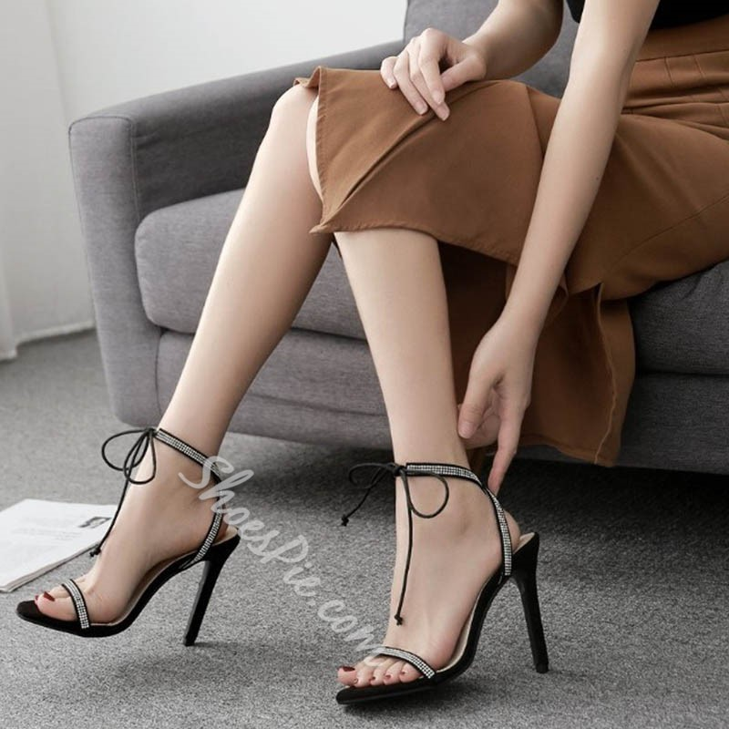 Black Lace-Up Rhinestone Ankle Strap Stiletto Heels