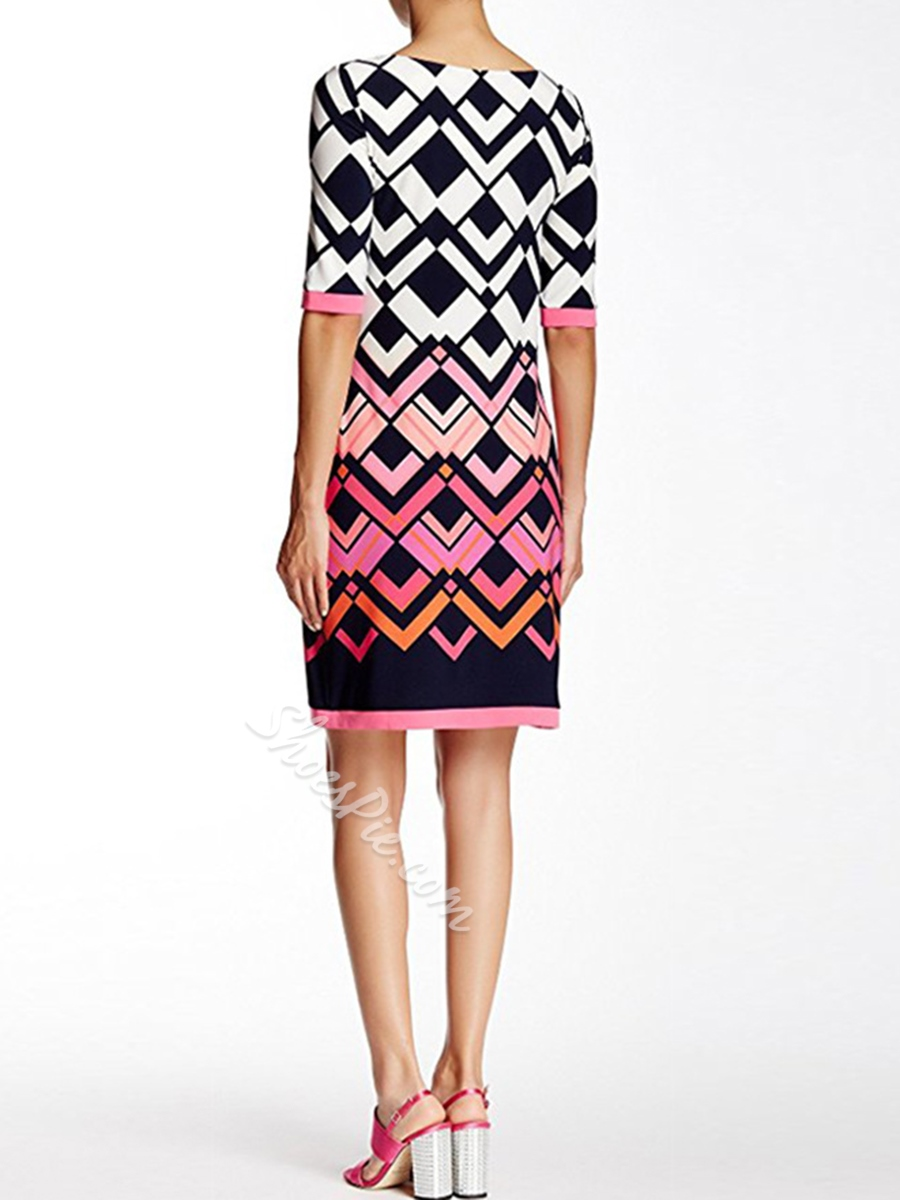 Shoespie Geometric Print Pullover Women's Bodycon Dress