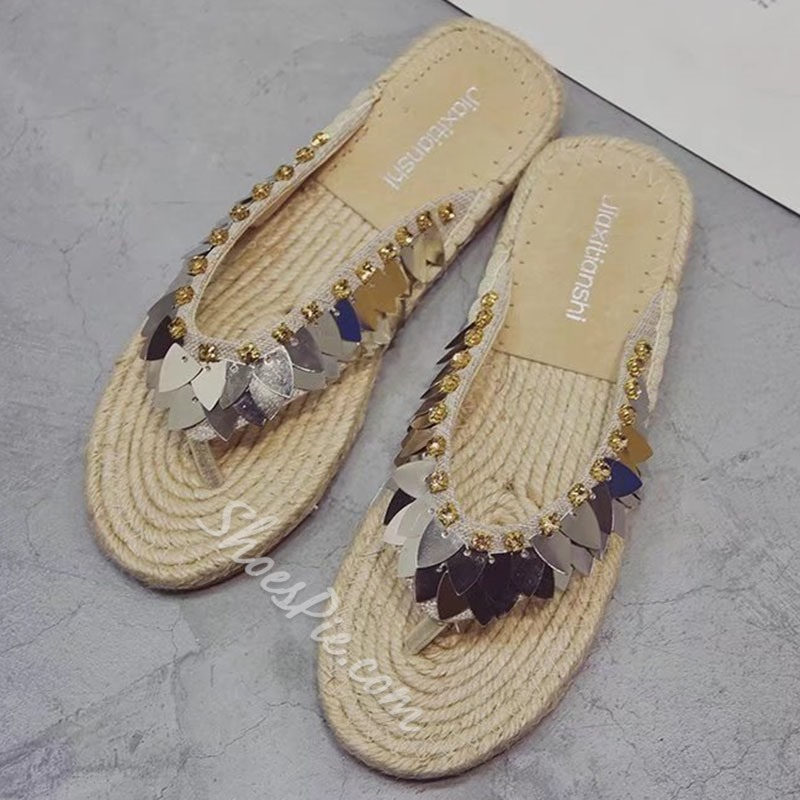 Sequin Thread Thong Beach Slide Sandals