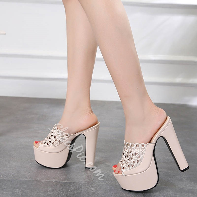 Shoespie Hollow Chunky Heel Casual Mules Shoes