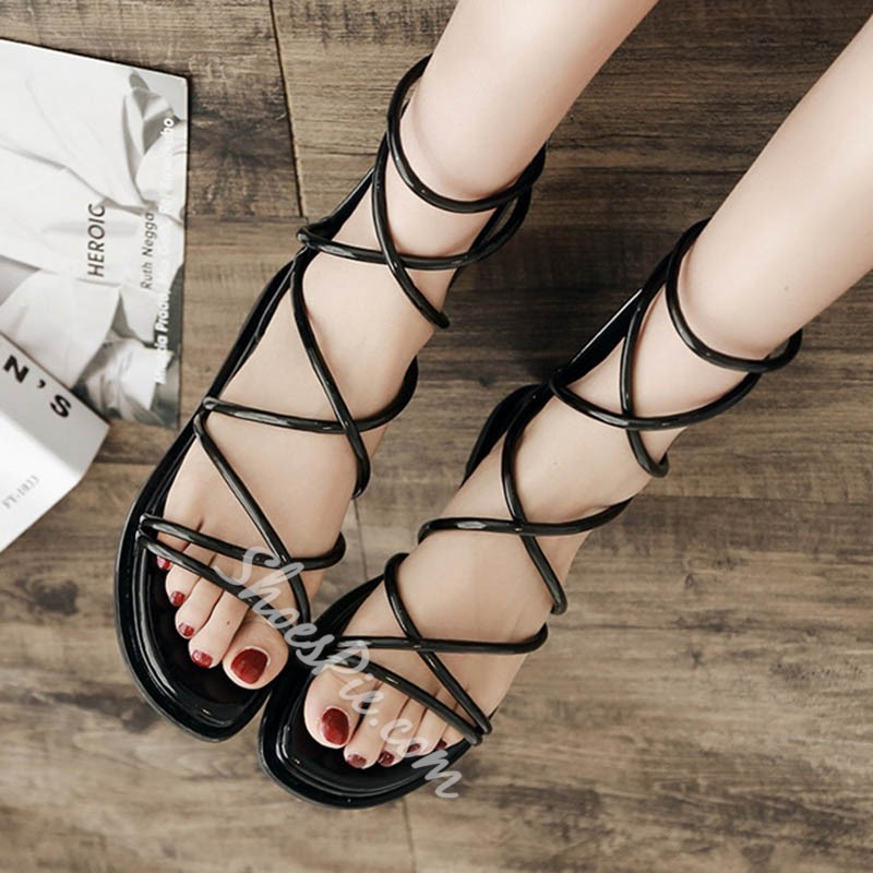 Casual Black Zipper High Upper Slide Sandals
