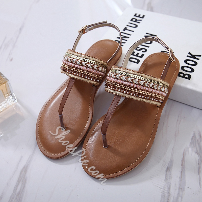 Casual Beach Thong Buckle Flat Sandals