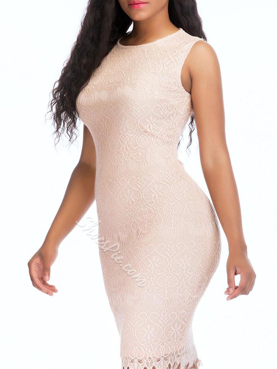 Shoespie Round Neck Lace Women's Bodycon Dress
