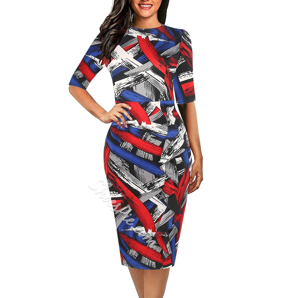 Shoespie Round Neck Print Plain Women's Bodycon Dress