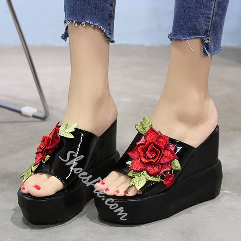 Appliques Slip-On Wedge Sandals