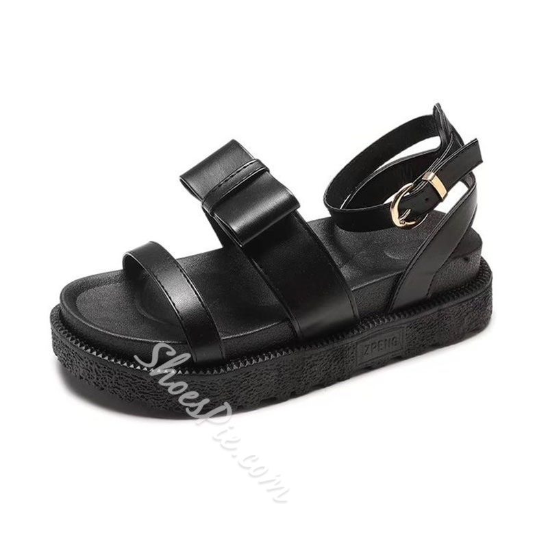 Black Bow Buckle Ankle Strap Flat Sandals