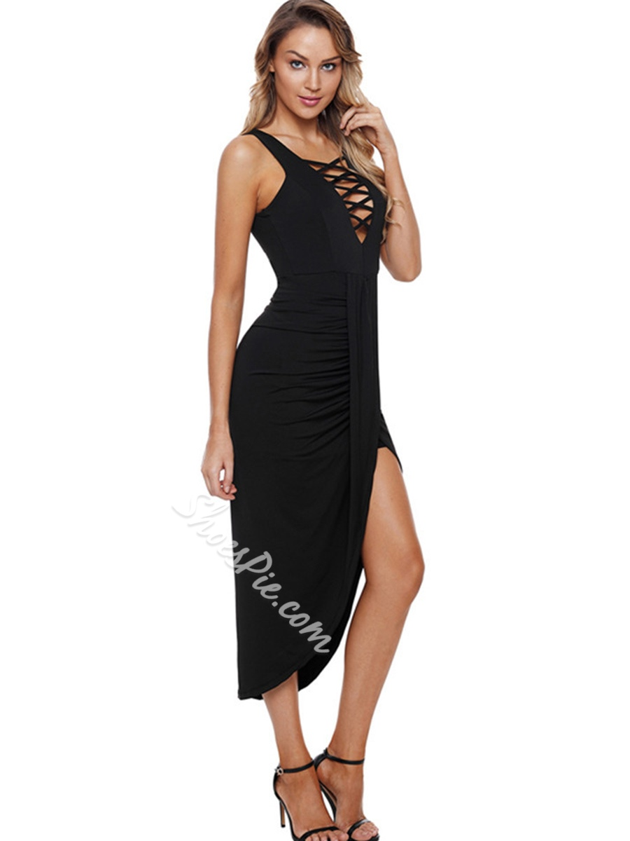 Shoespie Sleeveless Pleated Hollow Women's Bodycon Dress