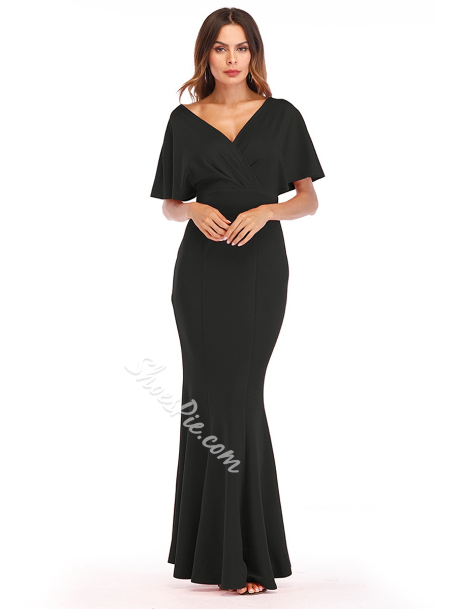 Shoespie Plain V Neck Backless Women's Maxi Dress