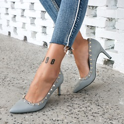 Shoespie Rivet Plain Slip-On Stiletto Heels