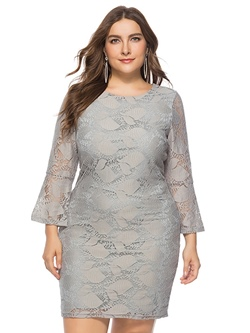 Shoespie Flare Sleeve Lace Plusee Women's Bodycon Dress