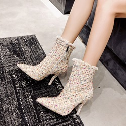Shoespie Fringe Pointed Toe Ankle Boots