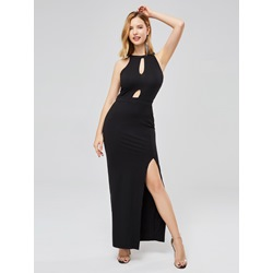 Sleeveless Pullover Plain Stretchy Women's Maxi Dress