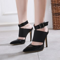 Shoespie Patchwork Plain Closed Toe Black Stiletto Heels