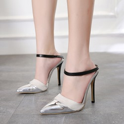 Shoespie Patchwork Color Block Nude Mules Shoes