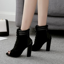 Shoespie Cross Strap Peep Toe Patchwork Ankle Boots