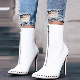 Shoespie Rivet Pointed Toe Ankle Boots