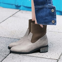 Shoespie Patchwork Plain Slip-On Ankle Boots
