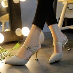 Shoespie Plain Buckle Pointed Toe Bridal Shoes