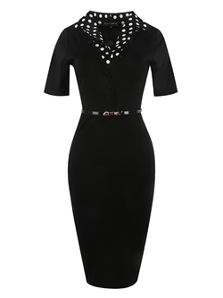 Shoespie Polka Dots Pencil Lapel Women's Bodycon Dress