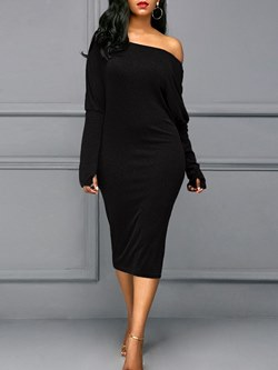 Shoespie Sexy Pullover One-Shoulder Women's Bodycon Dress