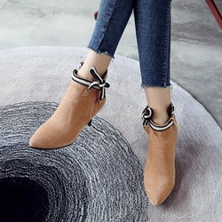 Shoespie Bow Plain Pointed Toe Ankle Boots