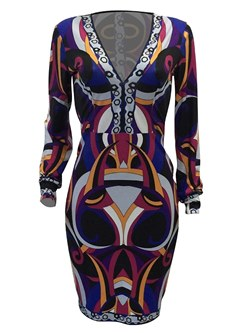 Shoespie Print V-Neck Pullover Women's Bodycon Dress