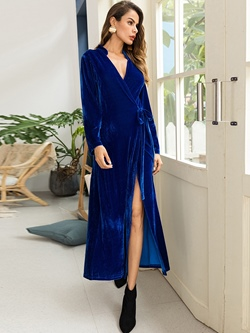 Shoespie Long Sleeve V Neck Polyester Women's Maxi Dress