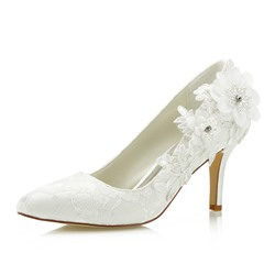Lace Rhinestone Beads Slip-On White Wedding Shoes