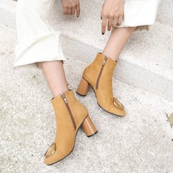 Shoespie Plain Side Zipper Ankle Boots