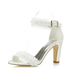 Shoespie Plain Beads Line-Style Buckle White Bridal Shoes