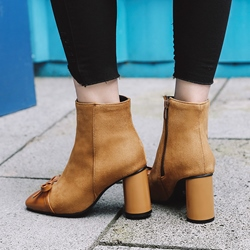 Shoespie Patchwork Plain Ankle Boots
