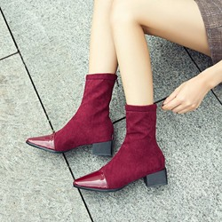 Shoespie Patchwork Plain Square Toe Ankle Boots