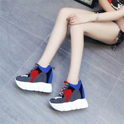 Shoespie Color Block Round Toe Lace-Up Sneakers