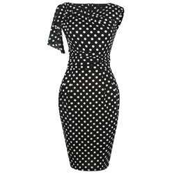 Shoespie Office Lady Pleated Print Women's Bodycon Dress