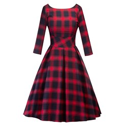 Shoespie Vintage Regular Plaid Women's Maxi Dress