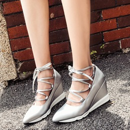 Shoespie Pointed Toe Lace-Up Wedge Sneakers