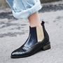 Shoespie Color Block Round Toe Ankle Boots