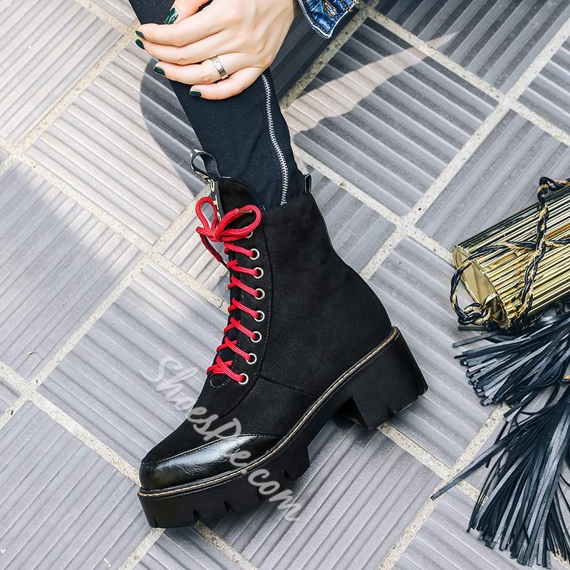 Shoespie Platform Lace-Up Front Ankle Boots