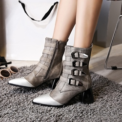Shoespie Buckle Pointed Toe Rubber Ankle Boots