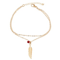 Feather Leaves Beads Double Anklets