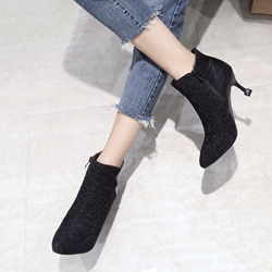 Shoespie Patchwork Plain Pointed Toe Ankle Boots