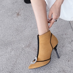 Shoespie Rhinestone Plain Pointed Toe Ankle Boots