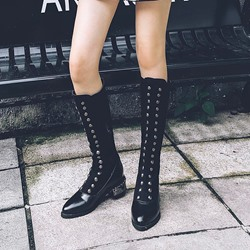 Shoespie Patchwork Plain Black Knee High Boots