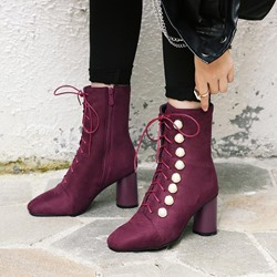 Shoespie Cross Strap Beads Ankle Boots