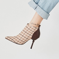 Shoespie Patchwork Plaid Pointed Toe Ankle Boots