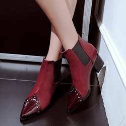 Shoespie Patchwork Plain Pointed Toe Elastic Ankle Boots