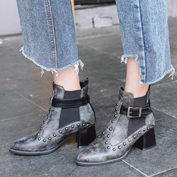 Shoespie Patchwork Plain Round Toe Ankle Boots