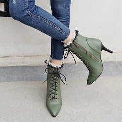 Shoespie Cross Strap Lace Pointed Toe Ankle Boots
