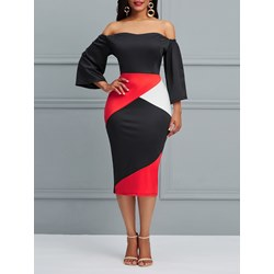 Shoespie Color Block Backless Patchwork Women's Bodycon Dress