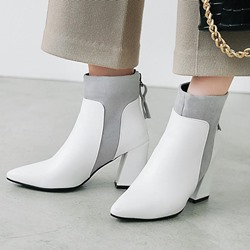 Shoespie Back Zip Pointed Toe Casual Ankle Boots